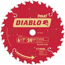 Image 2 of Diablo D0624X Circular Saw Blade, 6-1/2 in Dia, Carbide Cutting Edge, 5/8 in Arbor