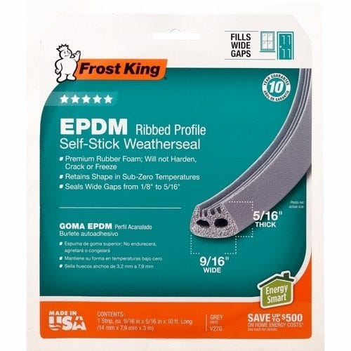 Frost King EPDM Ribbed Profile Self-Stick Weatherseal