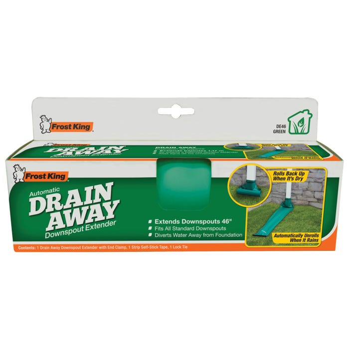 Image 1 of FRO05762Frost King DE46 Downspout Extender, 4 ft L Extended, Plastic, Green