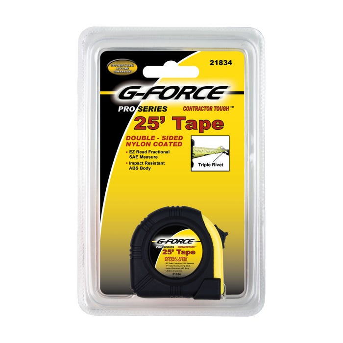 G-FORCE 25' TAPE MEASURE WITH RUBBER GRIP