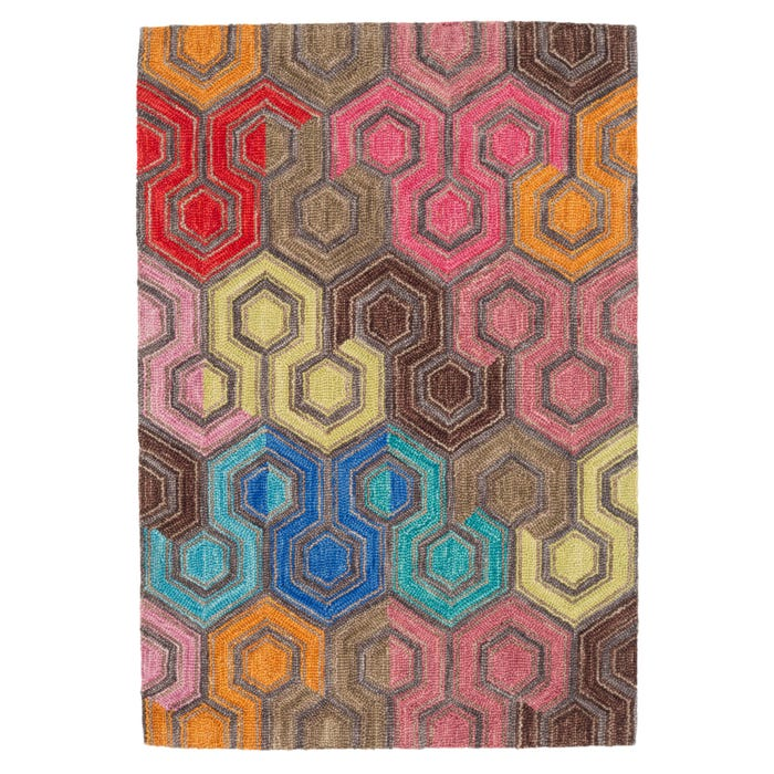 Dash & Albert Geodesic Micro Hooked Wool Rug