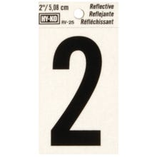 Image 2 of HY-KO RV-25/2 Reflective Sign, Character 2, 2 in H Character, Black Character
