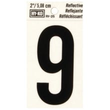 Image 2 of HY-KO RV-25/9 Reflective Sign, Character 9, 2 in H Character, Black Character