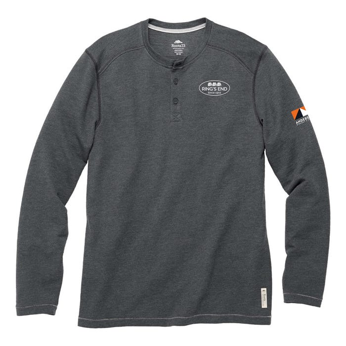 Image 1 of Roots 73 Men's Charcoal Gray Henley, Small