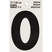 Image 2 of HY-KO RV-50/0 Reflective Sign, Character 0, 3 in H Character, Black Character
