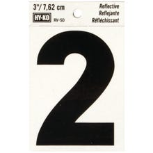 Image 2 of HY-KO RV-50/2 Reflective Sign, Character 2, 3 in H Character, Black Character