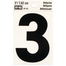 Image 2 of HY-KO RV-50/3 Reflective Sign, Character 3, 3 in H Character, Black Character