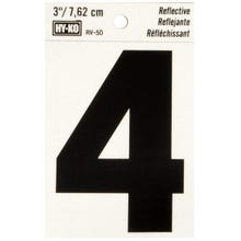 Image 2 of HY-KO RV-50/4 Reflective Sign, Character 4, 3 in H Character, Black Character