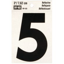 Image 2 of HY-KO RV-50/5 Reflective Sign, Character 5, 3 in H Character, Black Character
