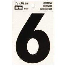 Image 2 of HY-KO RV-50/6 Reflective Sign, Character 6, 3 in H Character, Black Character