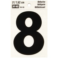 Image 2 of HY-KO RV-50/8 Reflective Sign, Character 8, 3 in H Character, Black Character