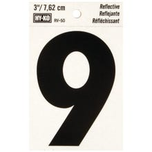 Image 2 of HY-KO RV-50/9 Reflective Sign, Character 9, 3 in H Character, Black Character