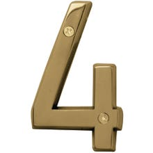 Image 2 of HY-KO Prestige BR-42PB/4 House Number, Character 4, 4 in H Character, Brass Character