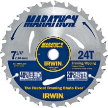 Image 2 of IRWIN MARATHON 24030 Circular Saw Blade, 7-1/4 in Dia, Carbide Cutting Edge, 5/8 in Arbor