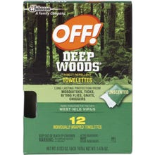 Image 1 of OFF! Deep Woods 54996 Insect Repellent Towelette, 12 CT Pack, Liquid, Clear/White, Alcohol