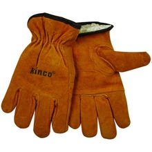 Image 1 of Kinco 51PL-M Driver Gloves, M, Thermal Pile Lining, Split Cowhide Leather, Gold