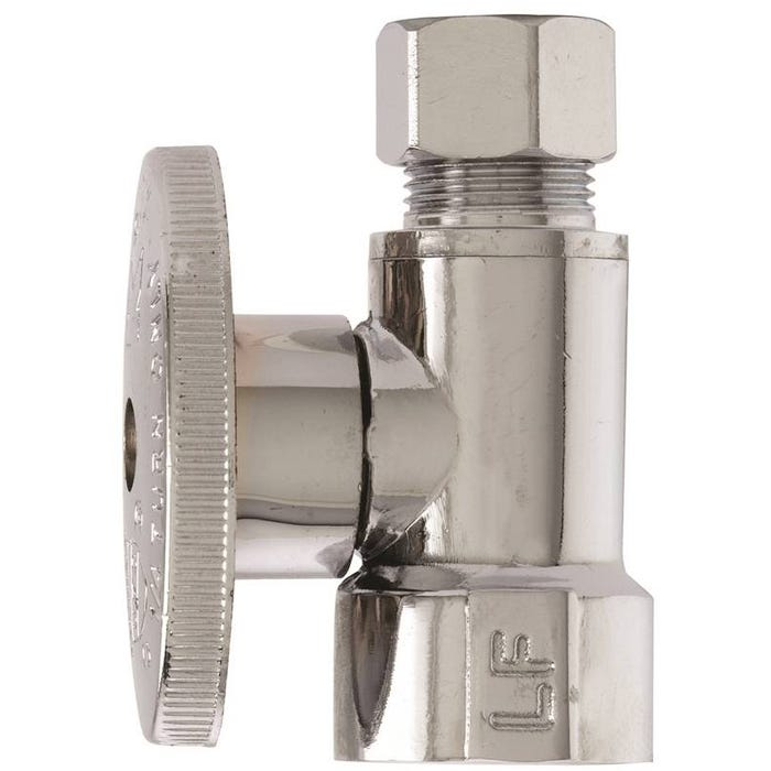Image 1 of Plumb Pak PP53PCLF Shut-Off Valve, 1/2 x 3/8 in FIP x Compression, Brass, Chrome