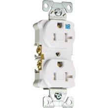Image 2 of Eaton Wiring Devices TWRBR20W-BXSP Duplex Receptacle, 20 A, 2-Pole, 5-20R, White