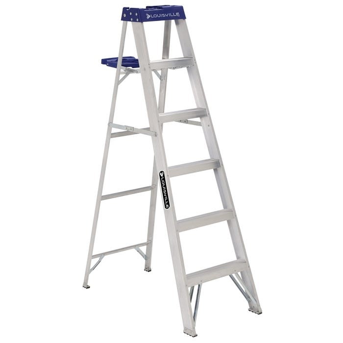 Image 1 of Louisville AS2106 Step Ladder, 250 lb Weight Capacity, 5-Step, 68.393 in H Open, Aluminum