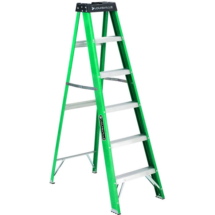 Image 1 of Louisville FS4006 Step Ladder, 225 lb Weight Capacity, 5-Step, 68.393 in H Open, Fiberglass