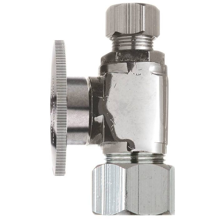 Image 1 of Plumb Pak PP63PCLF Shut-Off Valve, 5/8 x 3/8 in Compression, Brass, Chrome