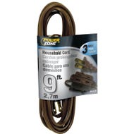 Image 1 of Powerzone OR670609 Extension Cord, 16 AWG, Brown Jacket, 9 ft L