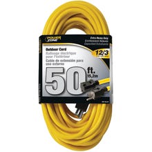 Image 2 of Powerzone OR500830 Extension Cord, 12 AWG, Yellow Jacket, 50 ft L