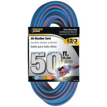 Image 2 of Powerzone ORC530830 Extension Cord, 12 AWG, Blue/Orange Jacket, 50 ft L