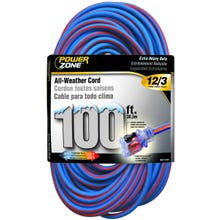 Image 1 of Powerzone ORC530835 Extension Cord, 12 AWG, Blue/Orange Jacket, 100 ft L