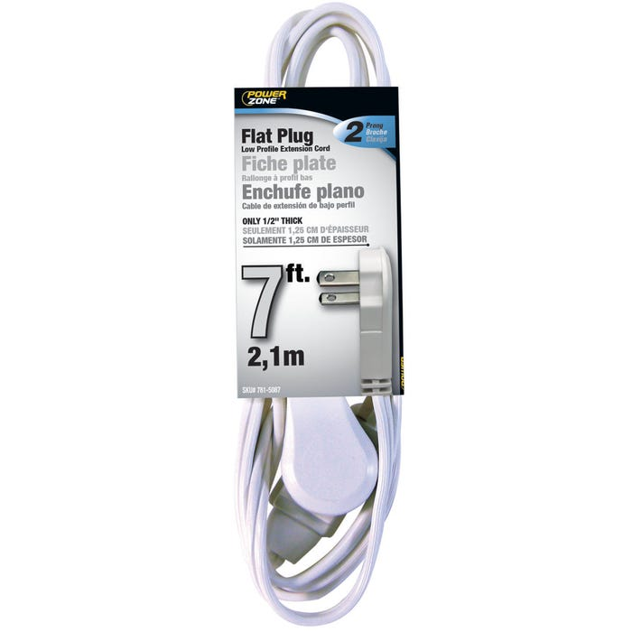 Image 2 of Powerzone OR920607 Extension Cord, 16 AWG, White Jacket, 7 ft L
