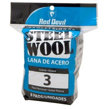 RED DEVIL STEEL WOOL 8PK, 3 COARSE