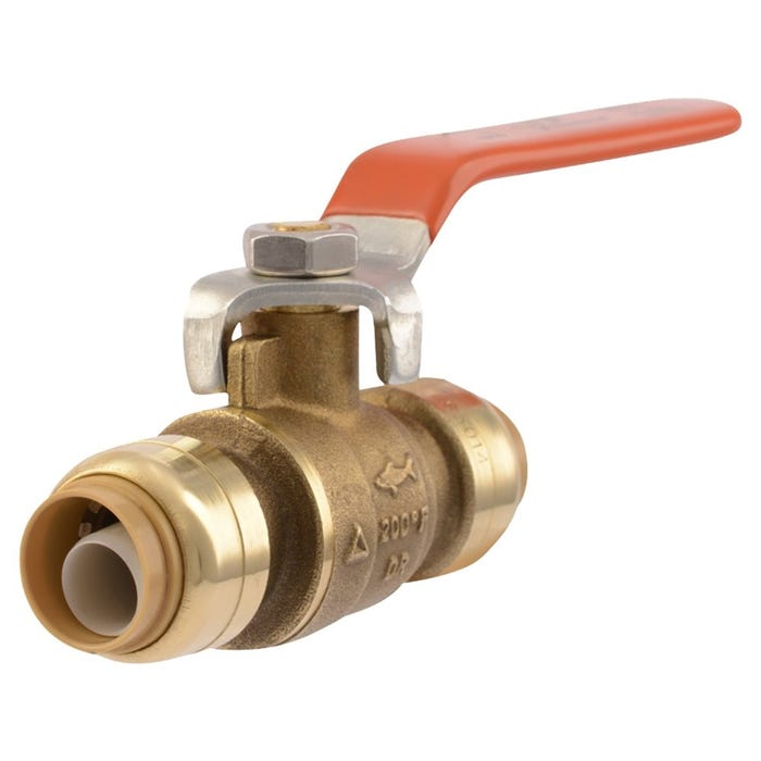 Image 1 of SharkBite 22222-0000LF Ball Valve, 1/2 in Push-Fit x 1/2 in Push-Fit, 2 Ports/Ways, Brass