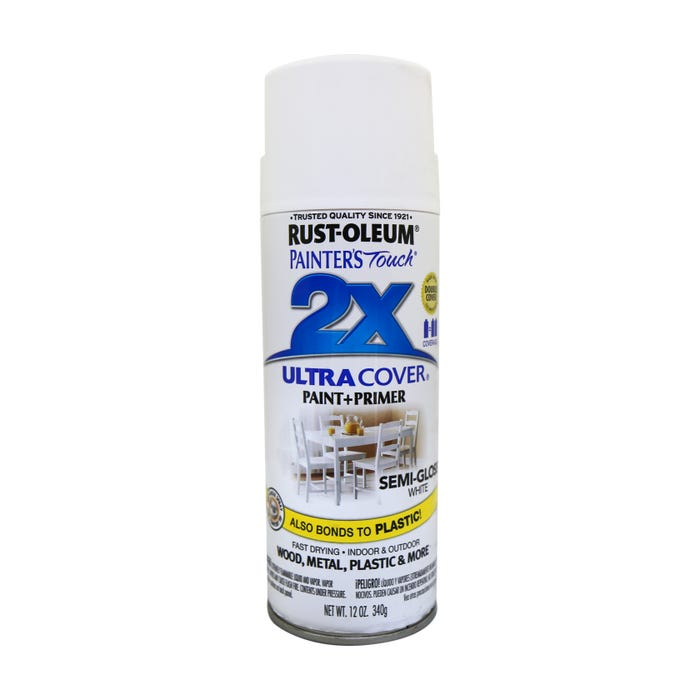 Rust-Oleum Painter's Touch 2X, Semi-Gloss White, Spray Paint 12 oz