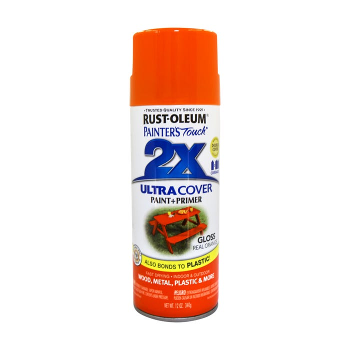 Rust-Oleum Painter's Touch 2X, Gloss Real Orange, Spray Paint 12 oz