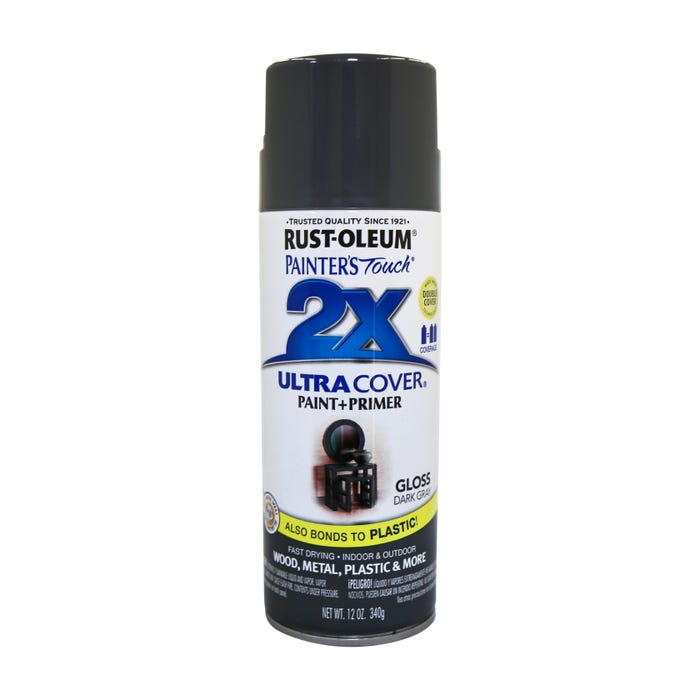 Rust-Oleum Painter's Touch 2X, Gloss Dark Gray, Spray Paint 12 oz