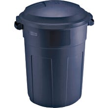 Image 2 of Rubbermaid Refuse Container with lid, 32 Gallon, Plastic, Blue