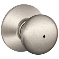 Image 1 of Schlage Plymouth F40VPLY619 Privacy Door Knob, 1-3/8 to 1-3/4 in Thick Door, Brass, Satin Nickel