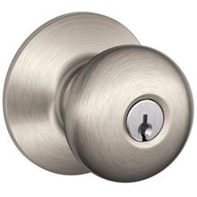 Image 2 of Schlage Plymouth F51A VPLY619 Keyed Entry Knob, 1-3/8 to 1-3/4 in Thick Door, Brass/Zinc, Satin Nickel
