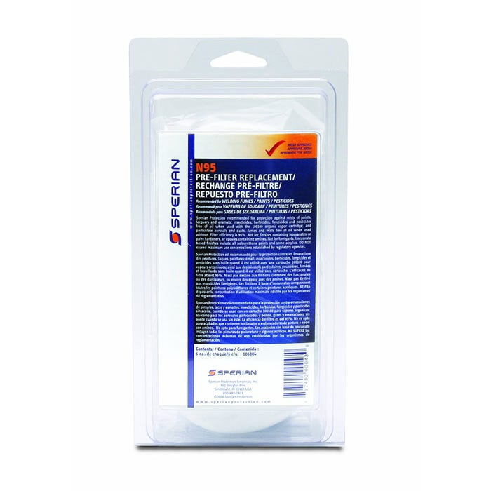 SPERIAN N95 PRE-FILTER REPLACEMENTS 6/PK