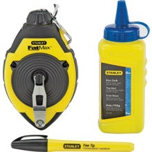 Image 2 of STANLEY 47-681L Chalk Line Reel Kit, 4 oz Chalk, 100 ft L Line, Blue Line