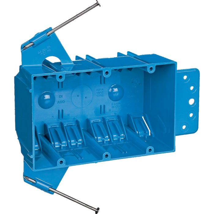 Image 2 of Carlon B344AB-UPC Outlet Box, Clamp Cable Entry, Captive Nail, Bracket Mounting, PVC