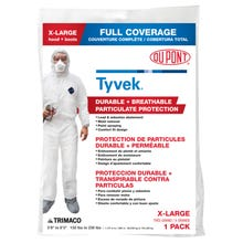 Image 1 of Trimaco 141232 Protective Coverall with Hood and Boot, XL, Zipper Closure, Tyvek, White