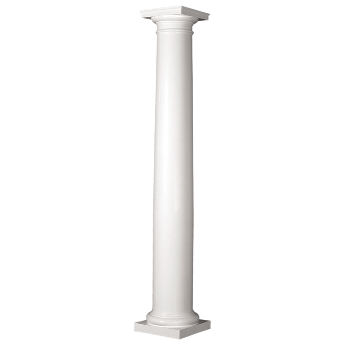 Turncraft Split Fiberglass Composite Tapered Round Smooth Column with Cap & Base
