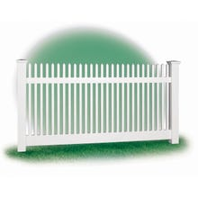 White Vinyl Picket Fence, 4' x 8' Section