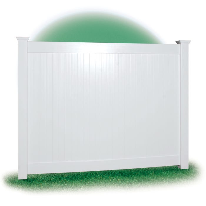 White Vinyl Privacy Fence, 6' x 8' Section