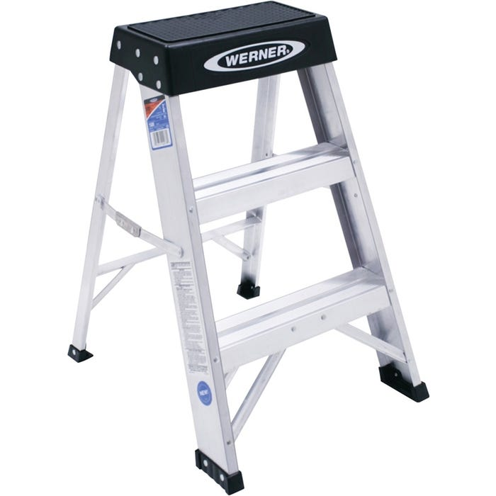 Image 1 of WERNER 150B Step Ladder, 300 lb Weight Capacity, 3-Step, 24 in H Open, Aluminum