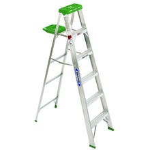 Image 1 of WERNER 356 Step Ladder, 225 lb Weight Capacity, 5-Step, Aluminum