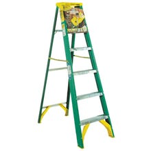 Image 1 of WERNER 5906 Step Ladder, 225 lb Weight Capacity, 5-Step, Fiberglass