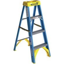 Image 1 of WERNER 6004 Step Ladder, 250 lb Weight Capacity, 3-Step, Fiberglass