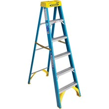 Image 1 of WERNER 6006 Step Ladder, 250 lb Weight Capacity, 5-Step, Fiberglass
